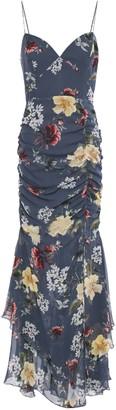 Nicholas Ruched Floral-print Silk-chiffon Maxi Dress