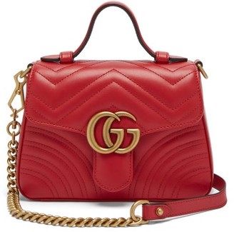 Gucci GG Marmont Mini Quilted-leather Cross Body Bag - Red