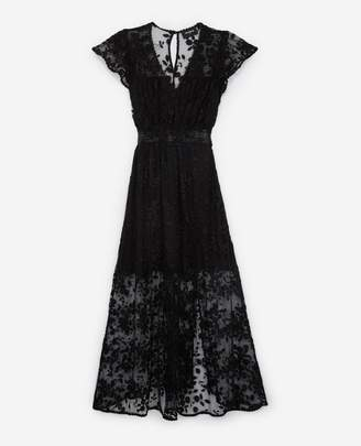The Kooples Long black dress with lace all over