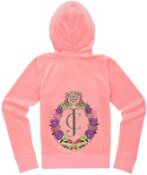 Juicy Couture Girls Logo Velour Floral Crest Original Jacket