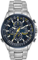 Citizen World Chronograph A-T Mens Chronograph Multi-Function Atomic Time Silver Tone Stainless Steel Bracelet Watch-At8020-54l