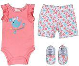 Baby Gear Baby Girl Bodysuit, Shorts & Crib Shoes Set