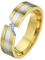 Theia His & Hers 14ct Yellow and White Gold Two-Tone 5mm Diamond Wedding Ring - Size P