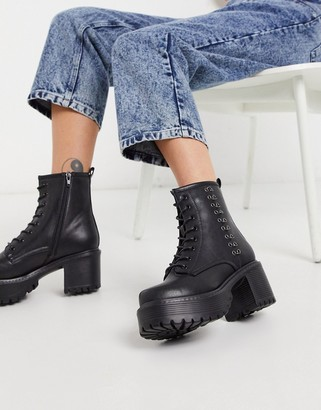 Koi Footwear Necron vegan ankle boot with metal detail in black