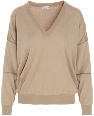 Brunello Cucinelli V-Neck Fine-Knit Sweater