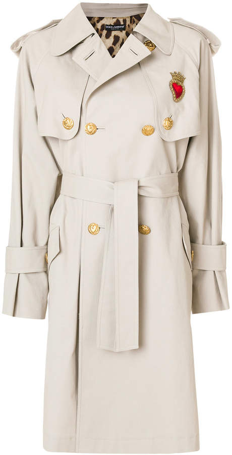 Dolce & Gabbana classic trench coat with heart applique