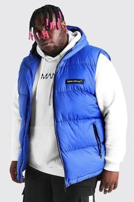 boohoo Mens Blue Plus Size MAN Branded Padded Gilet, Blue