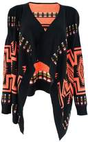 ZLYC Women Tribal Aztec Blanket Wrap Waterfall Open Front Cardigan Sweater