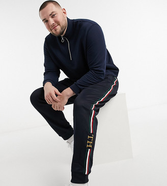 Tommy Hilfiger Big & Tall co-ord monogram logo cuffed trackies in navy
