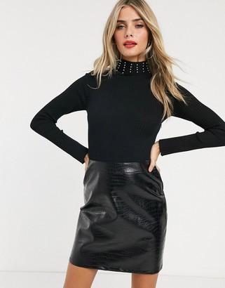 Lipsy 2 in 1 croc pu dress in black