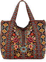 Johnny Was Clansy Embroidered Velveteen Tote Bag