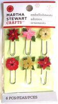 Martha Stewart Woodland Flower Paperclips Poinsettia Christmas Embellishments