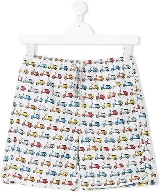 MC2 Saint Barth Kids TEEN vespa print swimming shorts