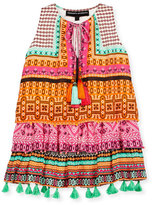Hemant and Nandita Tiered Silk Multipattern Dress, Pink/Orange, Size 4-6