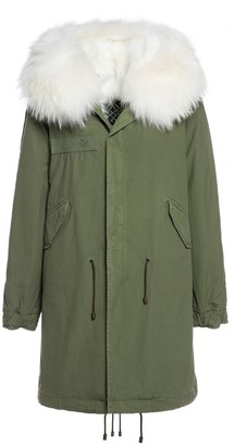 Mr & Mrs Italy Exclusive Fw20 Icon Parka: Army Cotton Canvas Parka With Fox Fur Lining