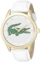 Lacoste Women's 2000894 Victoria Crystal-Accented Stainless Steel Watch with White Leather Band