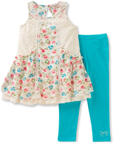 Juicy Couture Cream Floral Crochet Tunic & Teal Leggings - Toddler & Girls