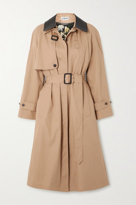 Loewe Leather-trimmed Cotton And Silk-blend Trench Coat - Beige