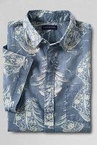 Classic Men's Short Sleeve Print Festival Chambray Buttondown Shirt-Blue Print