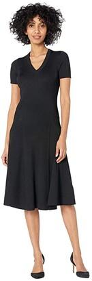 Lauren Ralph Lauren Short Sleeve Ribbed Dress (Polo Black) Women's Clothing