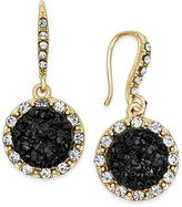 INC International Concepts Gold-Tone Jet Glitter Halo Drop Earrings, Only at Macy's