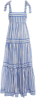 Zimmermann Tiered Striped Cotton-voile Maxi Dress