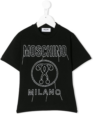 MOSCHINO BAMBINO logo stitch T-shirt