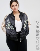 Brave Soul Plus Bomber Jacket With Contrast Sleeves And Embroidery