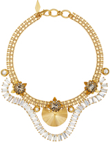 Nicole Romano 18K Gold-Plated Draped Crystal Baguette Necklace