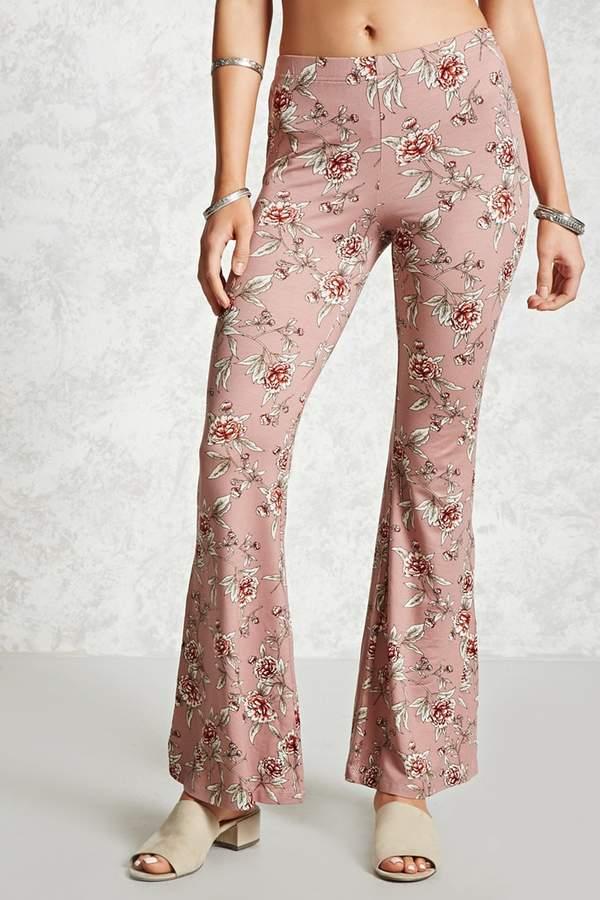Forever 21 Ornate Floral Flared Pants