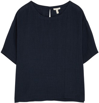 Eileen Fisher Navy Checked Linen Top