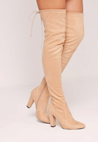 Missguided Nude Faux Suede Over The Knee Heeled Boots