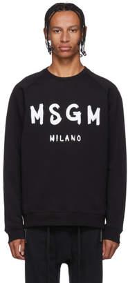 MSGM Black Paintbrush Logo Sweatshirt