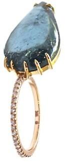 Sharon Khazzam Shareena 18K Rose Gold, Blue Tourmaline Diamond Leaf-Shaped Ring
