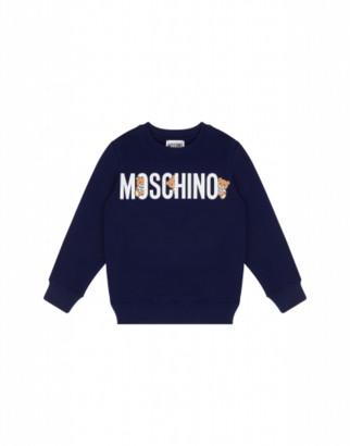 Moschino Teddy Logo Sweatshirt Unisex Blue Size 4a It - (4y Us)