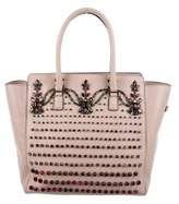 Valentino Jewel-Embellished Leather Tote
