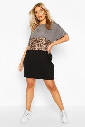 boohoo Plus Leopard Contrast Panel T-Shirt Dress