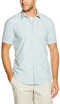 Esprit Men's Stripe Slim Fit Short Sleeve Dress Shirt,(Manufacturer Size:3738)
