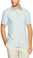 Esprit Men's Stripe Slim Fit Short Sleeve Dress Shirt