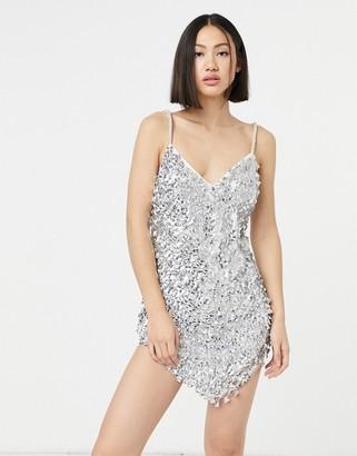 ASOS DESIGN curved hem disc embellished cami mini dress in silver