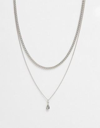 DesignB London multirow fine necklace in silver with solid pendant