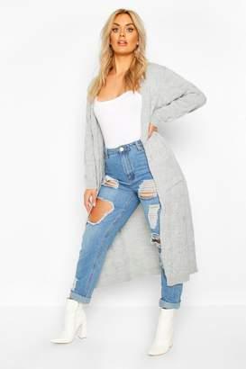 boohoo Plus Knitted Twist Detail Pocket Maxi Cardigan