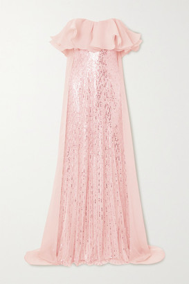 Jenny Packham Marguerite Strapless Ruffled Organza And Sequin-embellished Tulle Gown - Pastel pink