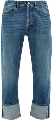 Valentino Washed Turn-up Straight-leg Jeans - Mens - Blue