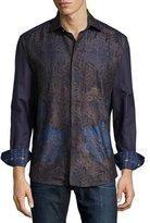 Robert Graham Limited Edition Textured Leaf-Pattern Sport Shirt, Brown