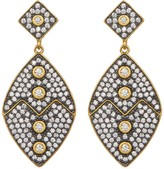Freida Rothman 14K Gold Plated Sterling Silver Contemporary Deco CZ Drop Earrings