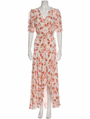 Reformation Floral Print Midi Length Dress White