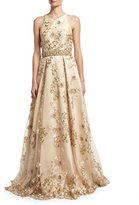 Jovani Sleeveless Embroidered Cutout-Back Gown, Champagne