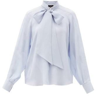 Rochas Rachel Pussy-bow Silk-crepe Blouse - Light Blue