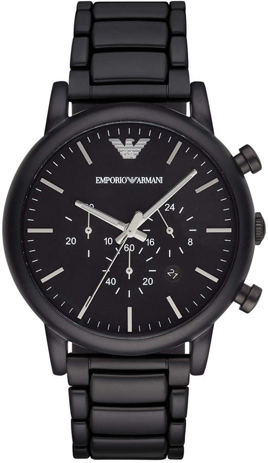 Emporio Armani Men's Chronograph Black Stainless Steel Bracelet Watch 46mm AR1895